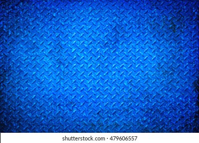 Blue metal floor plate texture and background seamless