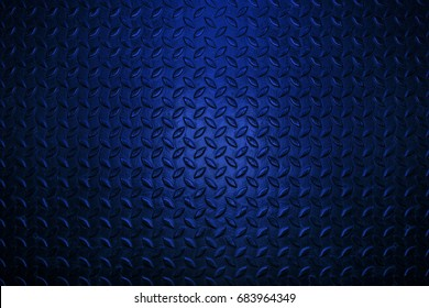 Blue metal floor plate texture and background