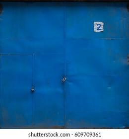 blue metal garage door