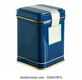 Blue metal packaging tin or box for tea, coffee, dry products with blank label isolated on a white background