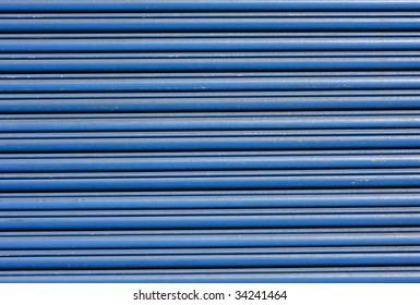 blue metal roller shutter door