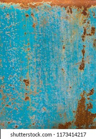 Blue Metal rust grunge background texture. Rusted, old, vintage, retro background texture on blue metal or iron plate surface. Industrial obsolete concept image
