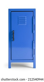 Blue Metal School Locker Front View Isolated on White Background.