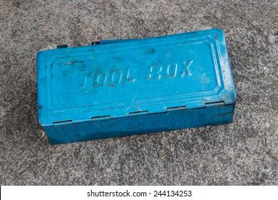 Blue Metal Tool Box on concrete floor