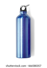 A blue metal water bottle isolated on a white background