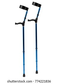 Blue metallic adjustable forearm crutches with ergonomic grips on white background