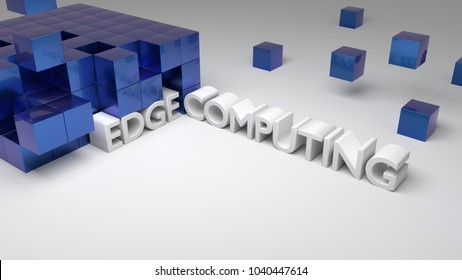 Blue metallic cubes on white with the integrated words edge conputing technology concept 3D illustration