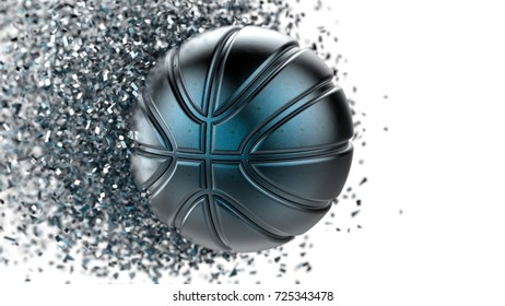 Blue Metallic Soccer ball with Particles. 3D illustration.