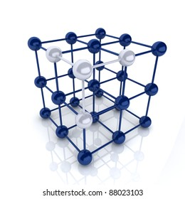 Blue metallic symbol with cube frame molecule (cube frame)