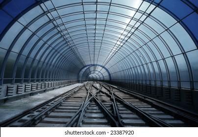 Blue metro tube tunnel