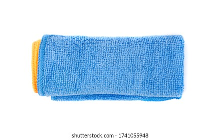Blue Microfiber Cleaning Cloth Roll Isolated on White Background Closeup