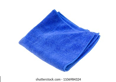 Blue Microfiber cloth on the white background.