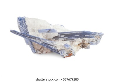 blue mineral of kyanite and quartz in white background