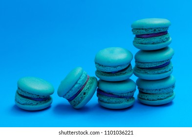 Blue mini macaroon dessert stcak for food backgrounds concept