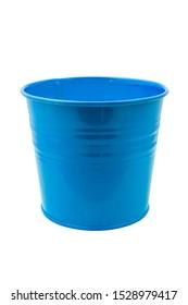 A blue miniature empty bucket