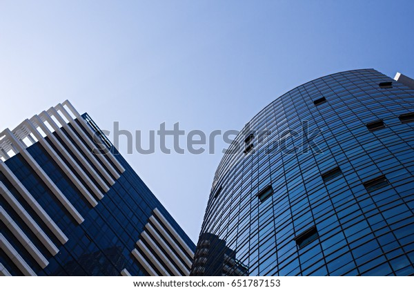 Blue Mirror Glass Modern Buildings On Stock Image | Download Now