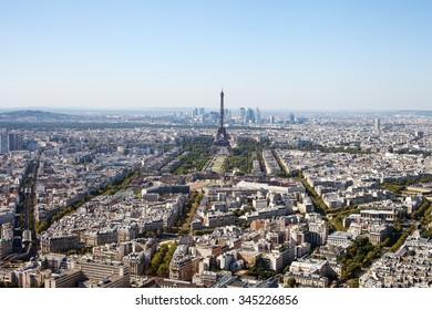 Blue misty sky over Paris, France.