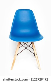 Blue modern chair with wooden legs isolated on white background