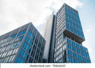 blue and modern finance building in office district