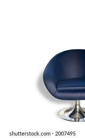 blue modern half armchair on white background