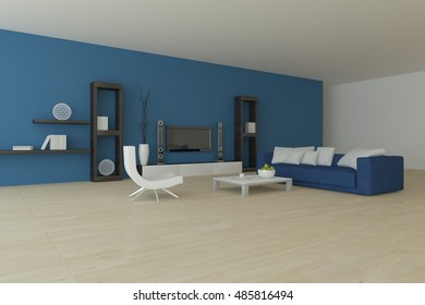 Blue modern interior design. 3D illustration