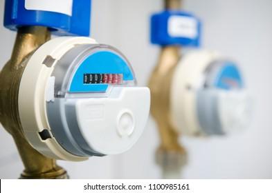 Blue modern radio wireless water counter meter close up
