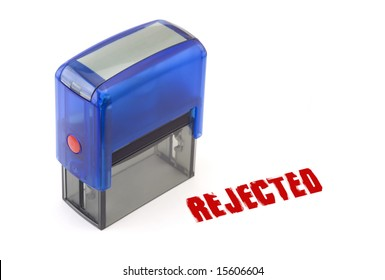 """Blue modern self-ink rubber stamp with red """" Rejected """" stamp"""