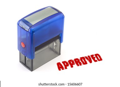 """Blue modern self-ink rubber stamp with red """" Approved """" stamp"""