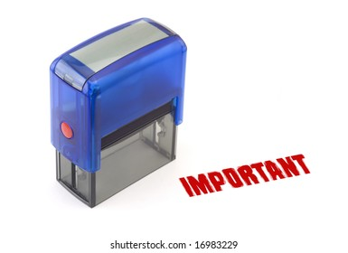 """Blue modern self-ink rubber stamp with red """" Important """" stamp"""