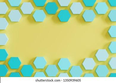 blue monotone beehive-like hexagons on yellow background. minimal concept idea