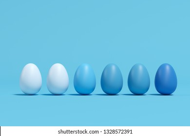 Blue Monotone Eggs on blue background. minimal Easter Idea Concept.