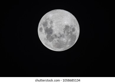Blue Moon - Full Moon on Easter Saturday, 31 March 2018 over Central Coast, NSW, Australia.