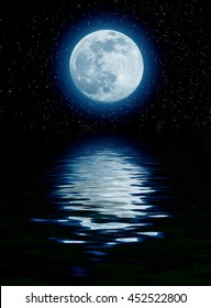 blue moon over the sea with starts