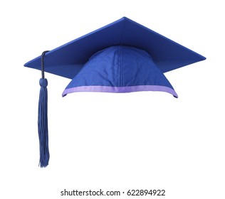 Blue Mortar Board on White Background