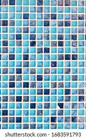 blue mosaic tile on the floor