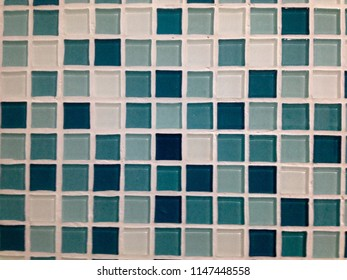 Blue Mosaic tile texture with white filling