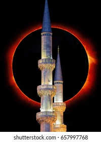 """Blue Mosque against Solar eclipse  (Sultanahmet mosque) in Istanbul, Turkey """"Elements of this image furnished by NASA """""""