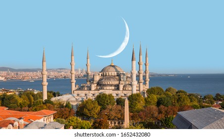 The Blue Mosque with crescent moon (new moon) -Sultanahmet, Istanbul, Turkey.