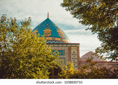 Blue mosque dome. Elegant islamic decorated masjid building. Travel to Armenia, Caucasus. Touristic architecture landmark. Sightseeing in Yerevan. City tour. Tourism industry. Religious concept
