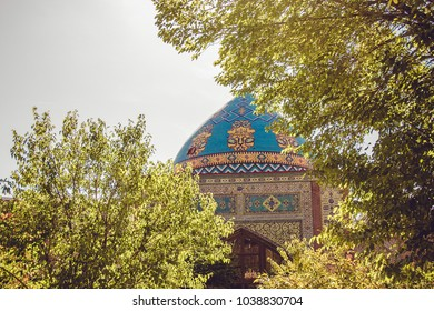 Blue mosque. Elegant islamic masjid building. Travel to Armenia, Caucasus. Touristic architecture landmark. Sightseeing in Yerevan. City tour. Tourism industry. Religious concept. Decorated dome