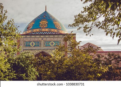 Blue mosque. Elegant islamic masjid building. Travel to Armenia, Caucasus. Touristic architecture landmark. Sightseeing in Yerevan. City tour. Tourism industry. Religious concept. Decorated cupola