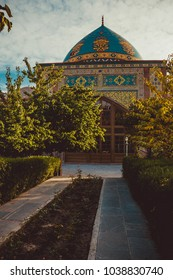Blue mosque. Elegant islamic masjid building. Travel to Armenia, Caucasus. Touristic architecture landmark. Sightseeing Yerevan. City tour. Tourism industry. Religious concept. Sunset time. Vertical