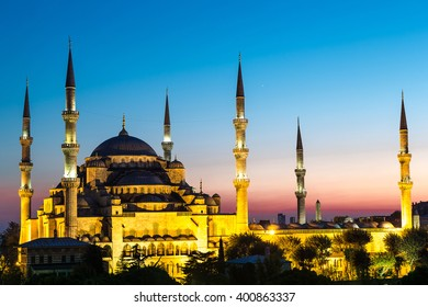 Blue Mosque in Istanbul in a summer night, Turkey
