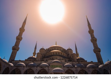 The Blue Mosque Istanbul, Turkey. Sultanahmet Camii. under bright sun.