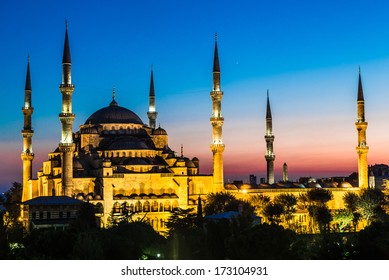Blue Mosque in Istanbul, Turkey View at early evening