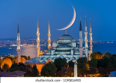 The Blue Mosque with new moon, (Sultanahmet), Istanbul, Turkey.