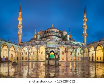 Blue Mosque at night in Istanbul, Turkey