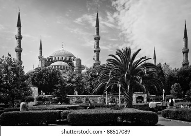 The Blue Mosque or Sultan Ahmed Mosque in Istanbul, Turkey in black and white