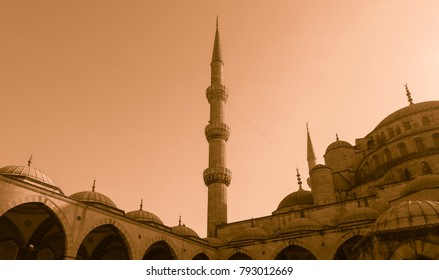 Blue Mosque (Sultan Ahmed Mosque) in old style. Historic area of Istanbul. Turkey