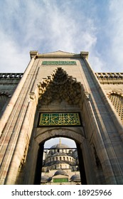 Blue Mosque, Sultan Ahmed Mosque from outer courtyard , Istanbul, Turkey